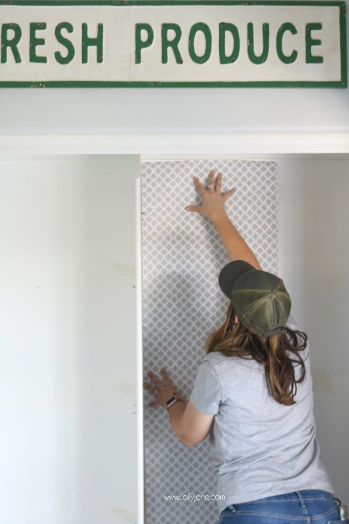 Easy Pantry Faux Wallpaper Makeover Diy Panty Wallpaper Diy Makeover Pantry Wallpaper Pantry Makeover