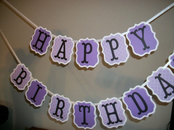 Happy Birthday Love Purple ~ Gorgeous banner love the shape it s a little different diy projects to do pinterest