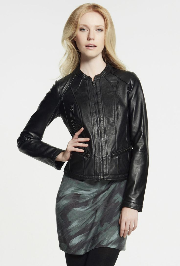 Collarless Leather Jacket $349
