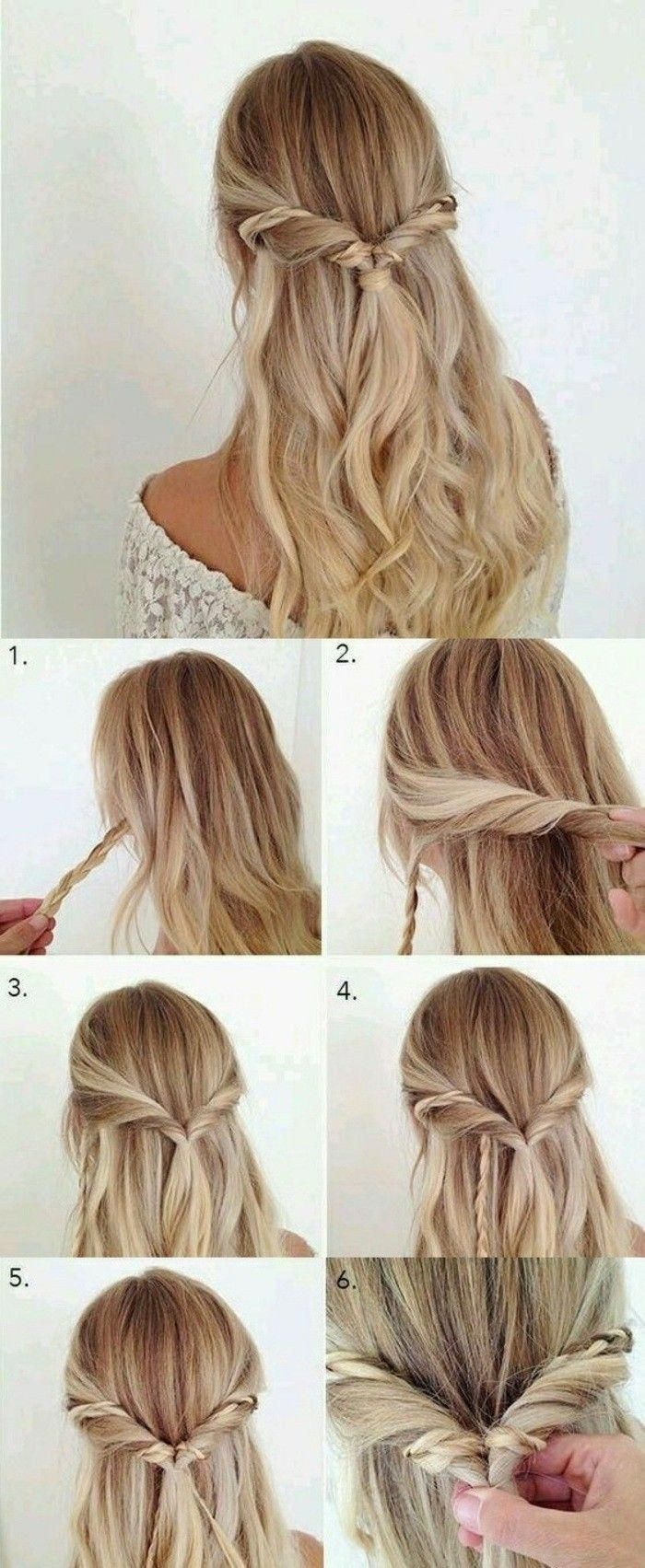 step by step diy tutorial, twisted hair, long blonde wavy hair, with braids, prom hairstyles for short hair #Shorthairbraids