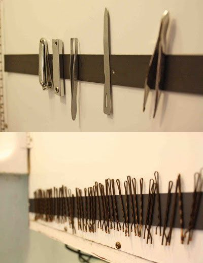 Use a magnetic strip to hold bobby pins and tweezers.
