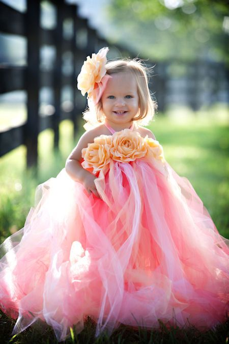 Coral Peach Custom Dreams Fancy Little Girls Long Tutu