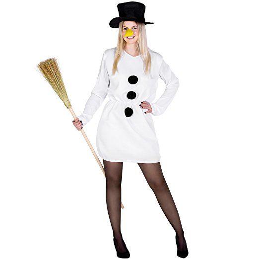 Damenkostüm Schneefrau Weihnachts Kostüm | kurzes sexy Kleid mit aufgenähten Bommeln | inkl. Zylinder und Karottennase Mottoparty karneval kostüm gruppe kostüm karneval verkleidung fasching basteln faschingskostüm bekleidung mode fasching