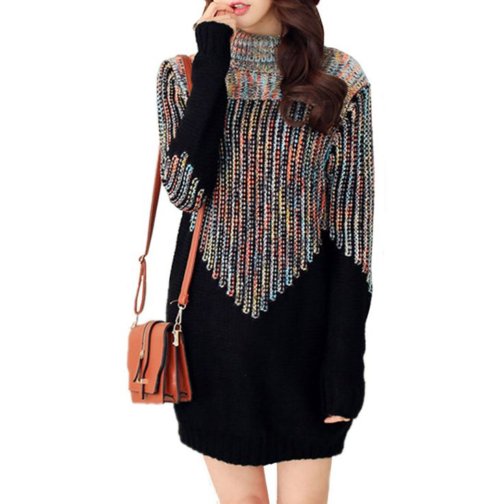 Women Sweaters & Pullovers Fashion Gradient Color Turtleneck Women Sweater Dress Ladies Loose Pattern Winter Dresses WZQ114