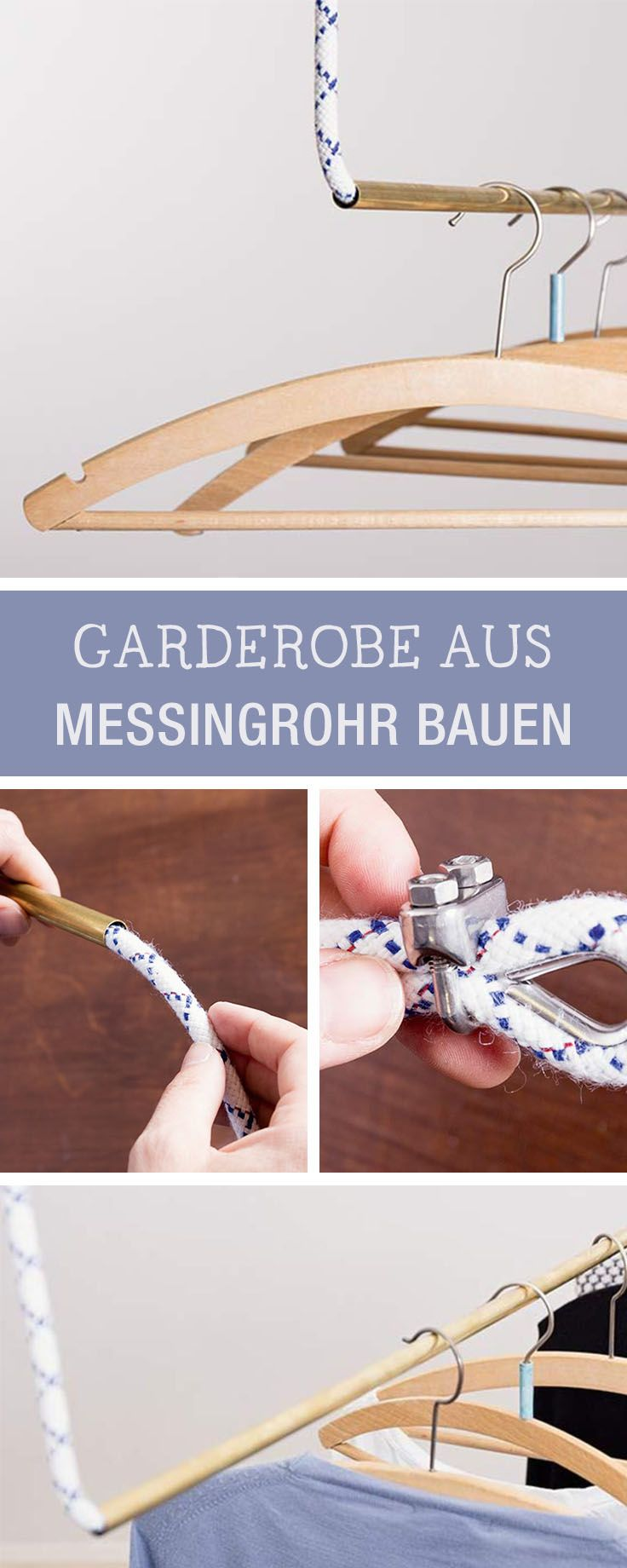 Kleiderständer aus Messingrohren und Seil bauen, Möbel DIY / diy furniture: how to build a wardrobe with pipes and rope via DaWanda.com