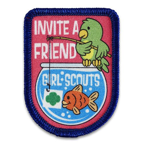"""1 3/4"""" x 2 3/8"""" Photo Patch. All Fun Patches are unofficial and are not to be worn on the front of the Girl Scout sash, vest or tunic. All fun patch designs are exclusively owned by Girl Scouts of the USA."""