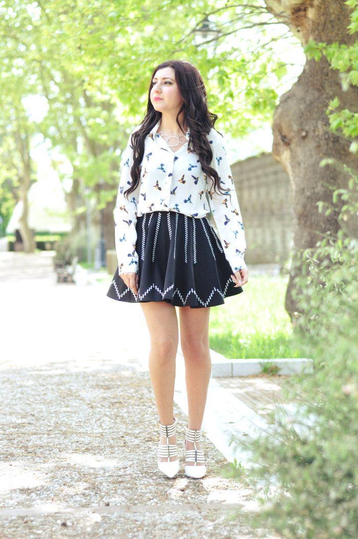 sabrina musco skirt shirt hair long heels