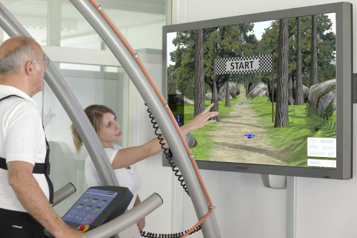 motivation through VR Virtual Reality for example Forest Walk. The VR software is interactively connected via coscom v3 interface with the h/p/cosmos treadmill and speed and elevation are controlled by the zebris VR software.