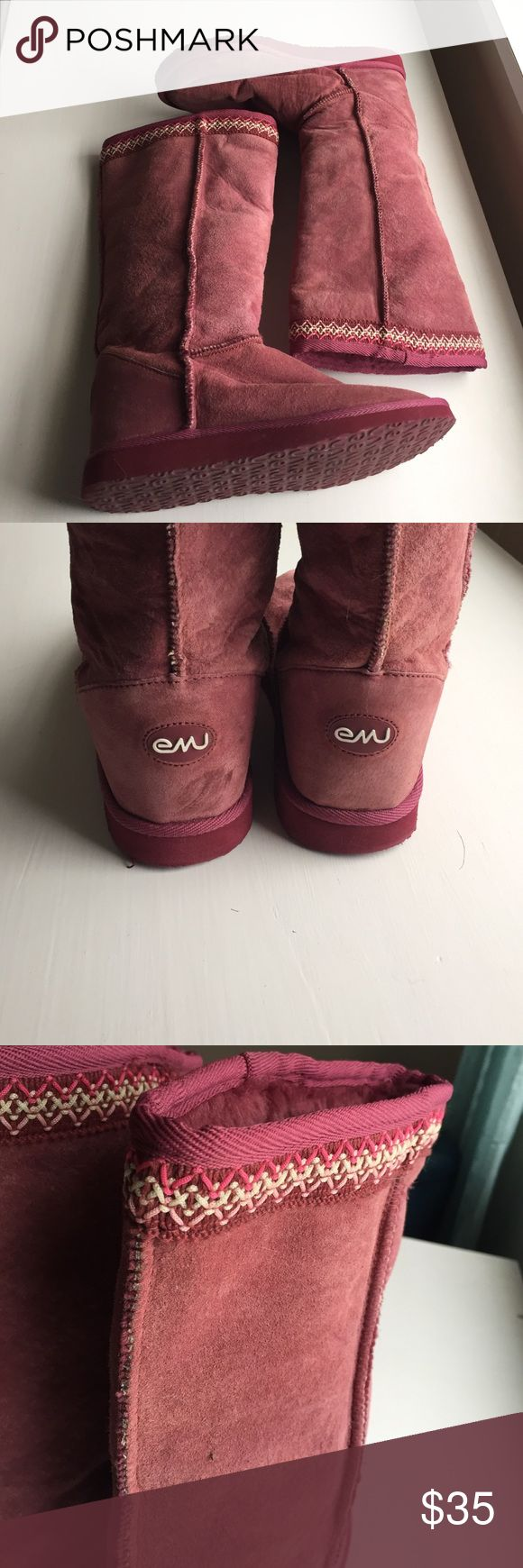 Purple Emu boots Purple Emu boots w/embroidered trim at top of boot - still in great condition worn only a few times Emu Shoes Winter & Rain Boots