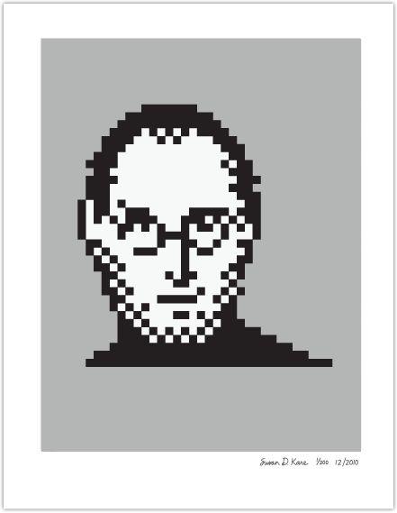 The late great Steve Jobs in pixels. brilliant likeness