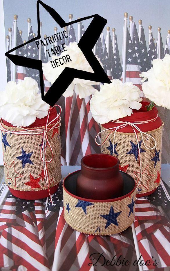 Red White and Blue: #patriotic table top home decor decoration - Fourth of July Memeorial Day - from #recycled jars