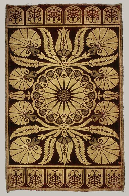 Cushion cover, 17th century; Ottoman Turkey Silk and metal thread