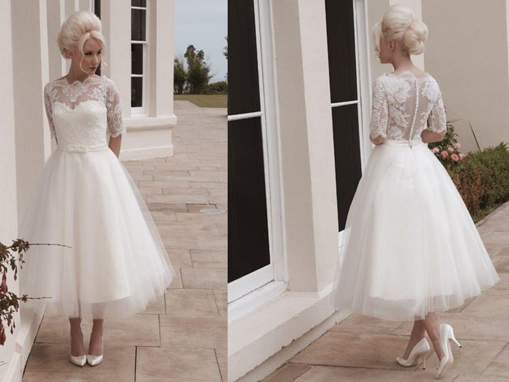 Discount 2015 Short Wedding Dresses Ball Gown Tulle Tea Length Bateau 1/2 Long Sleeves Lace Appliques Sash House Of Mooshki Darla Covered Button ML Sweetheart A Line Wedding Dress Sweetheart A Line Wedding Dresses From Morieebridal, $95.98| DHgate.Com