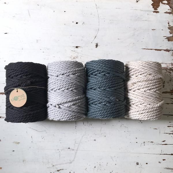 Twisted Macrame Cord Roll • Black - Grey Pastel - Linen blend • 4.5mm – ChompaHandmade