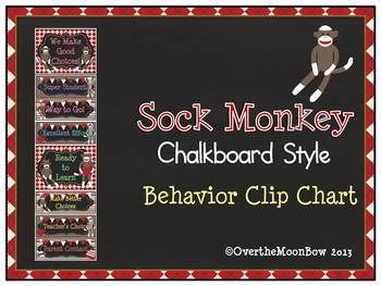 This adorable & fun Sock Monkey themed behavior chart fits in well with the 'green–yellow–red' behavior system used in many schools, yet provides positive recognition for students who go above & beyond.
