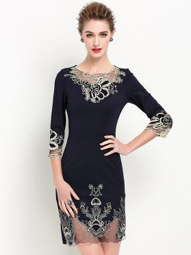 49530c574d Party Embroidery O-Neck 3 4 Sleeve Mesh Bodycon Dress