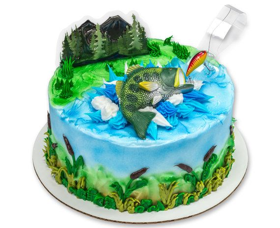 Catching the Big One Bass Fishing Cake Topper Decoration