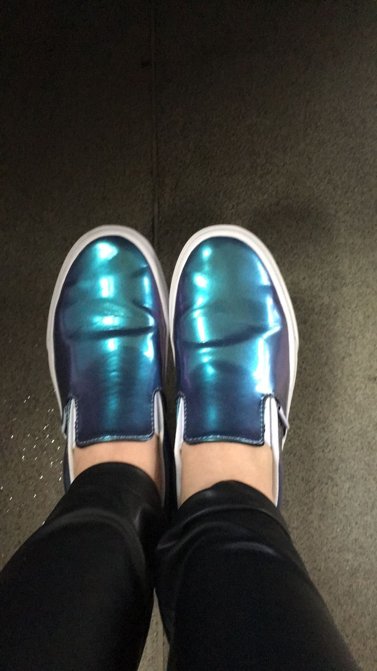 Vanz Holographic Leather Slip-on Sneakers  #howtowear