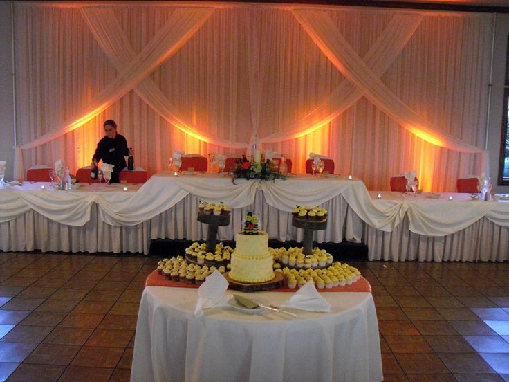 Yellow Back Lighting To Match The Wedding Cake At Whitetail Ridge Golf Club In Yorkville