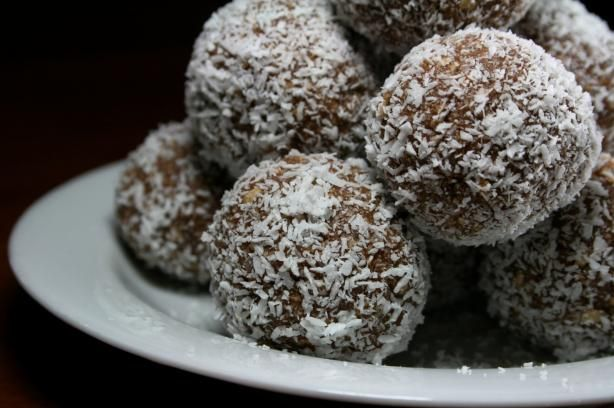 Coconut Chocolate Truffles.... making a quadruple batch now. Make them every Christmas. Lost my recipe now back to it!