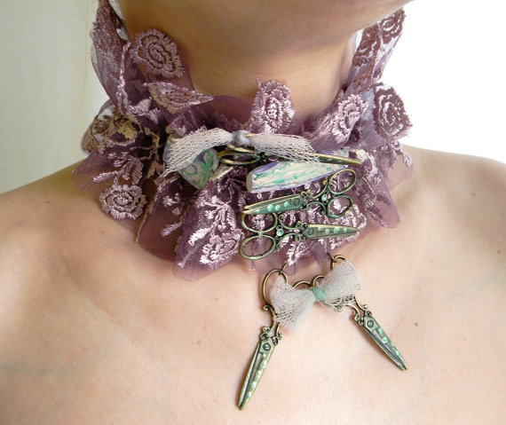 Statement jewelry choker neck corset laced collar