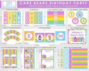 Stampabile DIY Care Bears temi di DIYprintableparties su Etsy