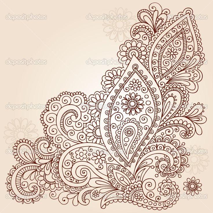 paisley tattoo | ... Paisley Henna Mehndi Paisley Floral Tattoo Doodle- Vector Illustration