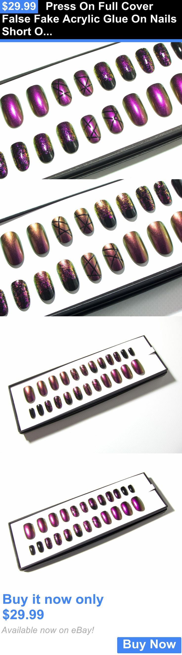 Press-On Nails: Press On Full Cover False Fake Acrylic Glue On Nails Short Oval Multichrome Art BUY IT NOW ONLY: $29.99