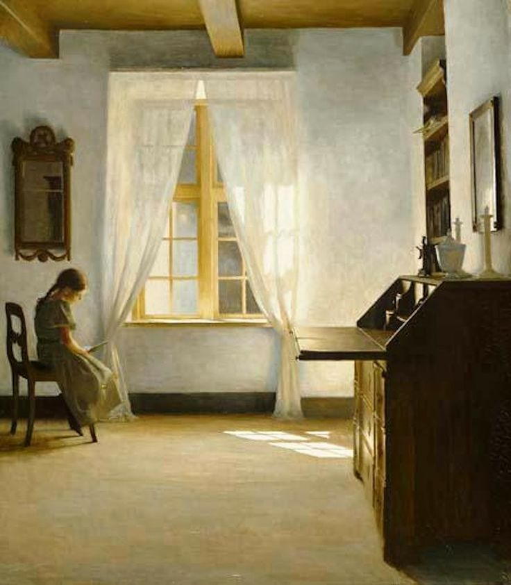 'Young girl reading' by Peter Vilhelm Ilsted