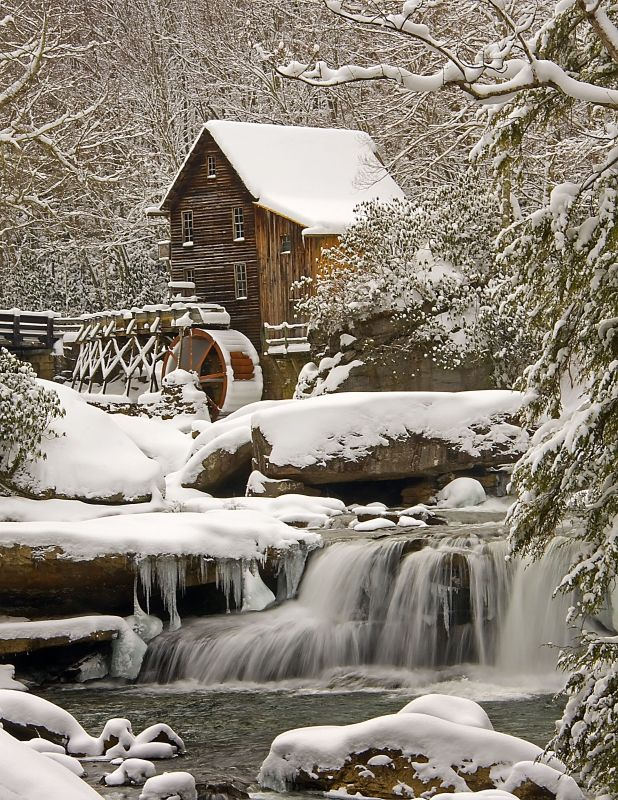 Glade Creek Grist Mill After Snow Storm.                                 Babcock State Park near Clifftop, West Virginia