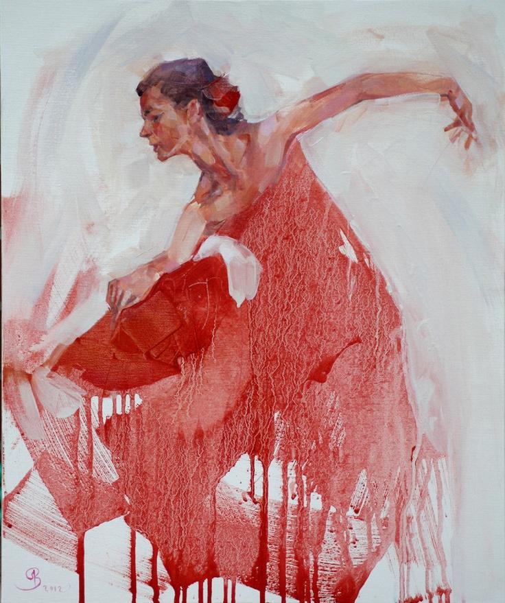 """author: Renata Brzozowska  title: """"Red impact"""" (168.2012)    media: oil on…"""