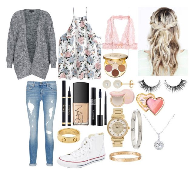 """School 92"" by ella-goodness on Polyvore featuring Topshop, rag & bone/JEAN, Converse, Yves Saint Laurent, NARS Cosmetics, tarte, Rimini, Michael Kors, Cartier and Belk & Co."