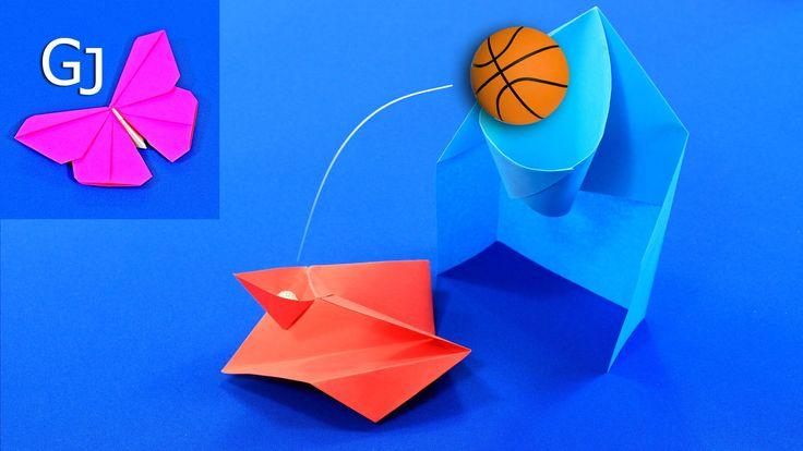 Оригами+игра+—+баскетбольное+кольцо+и+катапульта