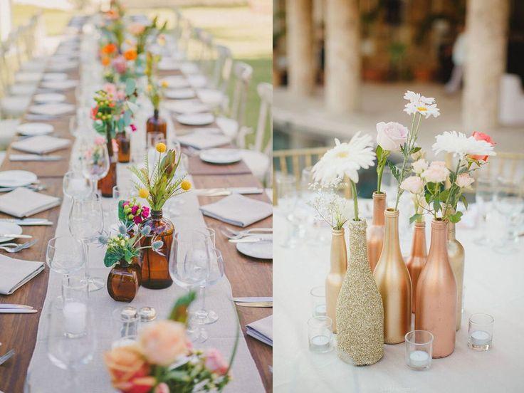 botellas como centros de mesa para bodas