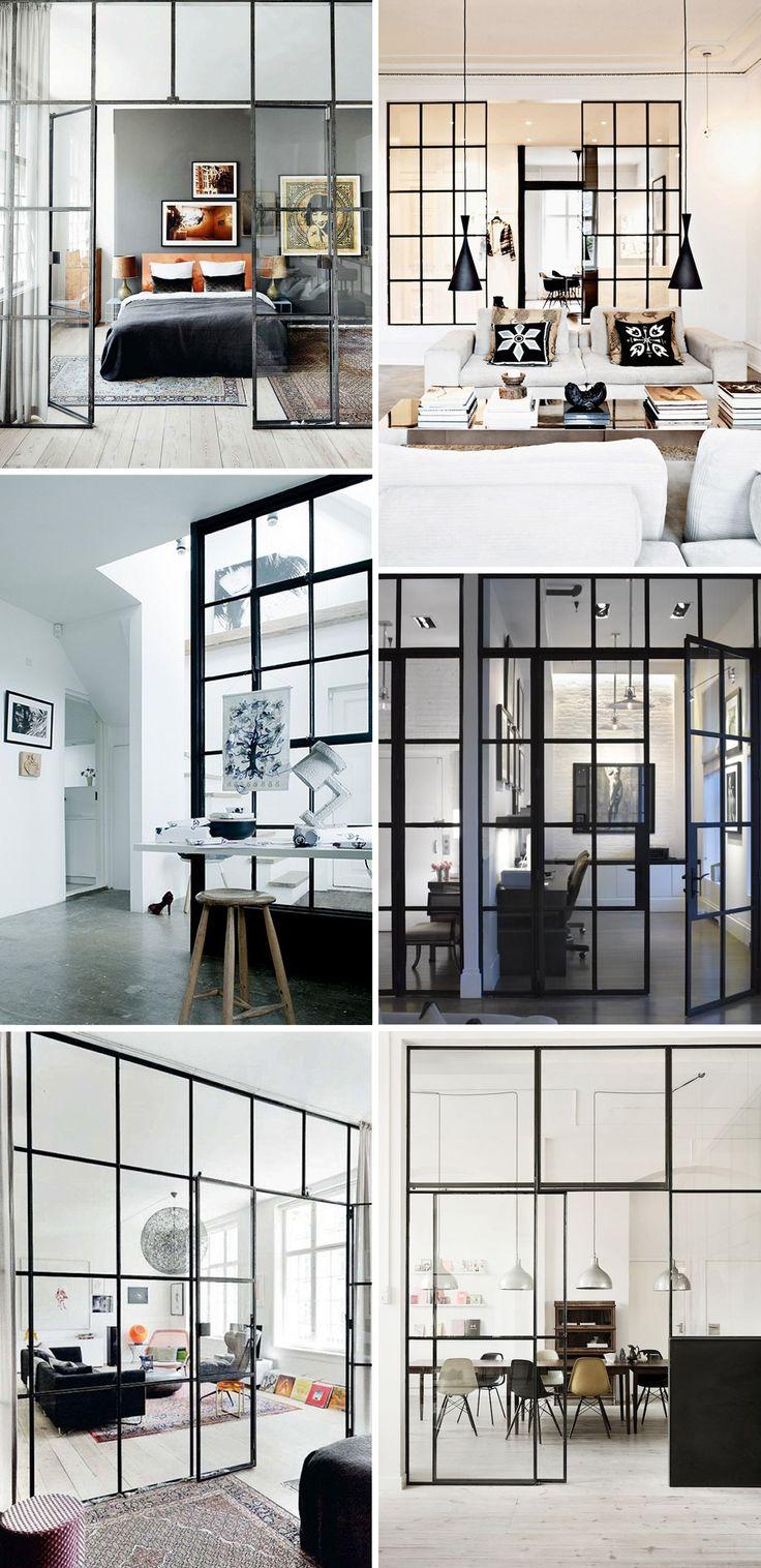 skillevægge bygget af gamle vinduer er en unik og rummelig opdeling af din boplads. #glarmester #vinduer #genbrug