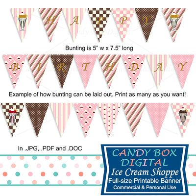 Ready-To-Print Ice Cream Birthday Banner by Candy Box Digital. Great ice cream shoppe themed party decoration!
