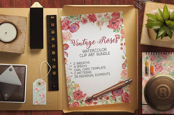 Watercolor bundle: Vintage roses by Lolly's Lane Shoppe on @creativemarket