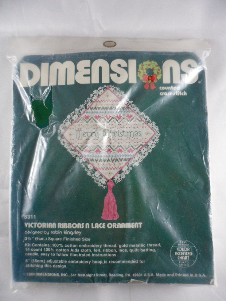 Dimensions Counted Cross Stitch Kit Victorian Ribbons N Lace Ornament 8311 New #Dimensions #Ornament