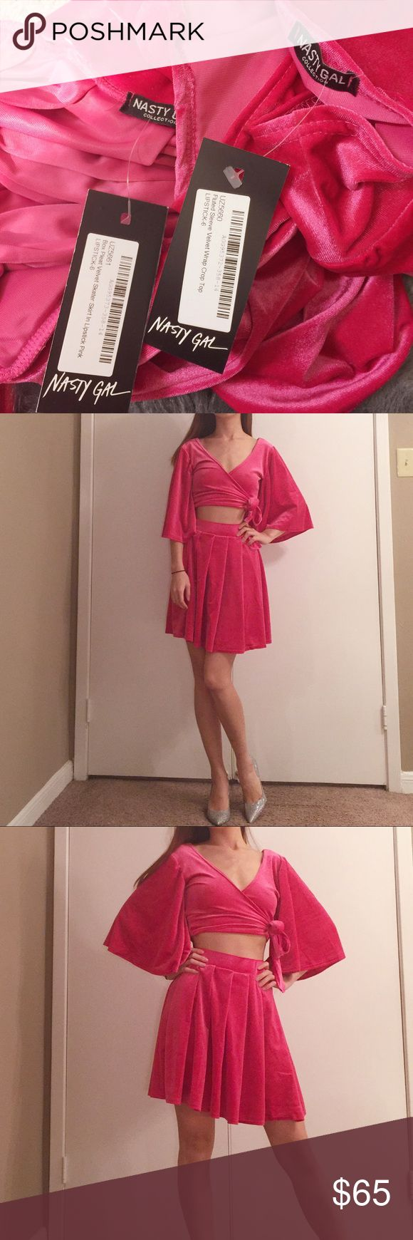 """NWT Words of Love hot pink velvet set NWT Words of Love hot pink crop top and circle skirt velvet set. Size: 2. Both are brand new with the tag.  Skirt: 18"""". Waist: 23"""" to 29"""". Super stretchy. Nasty Gal Tops Crop Tops"""