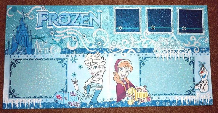 Disney FROZEN 12x12 Premade Scrapbook Layout (2 Pages) Anna Elsa Olaf