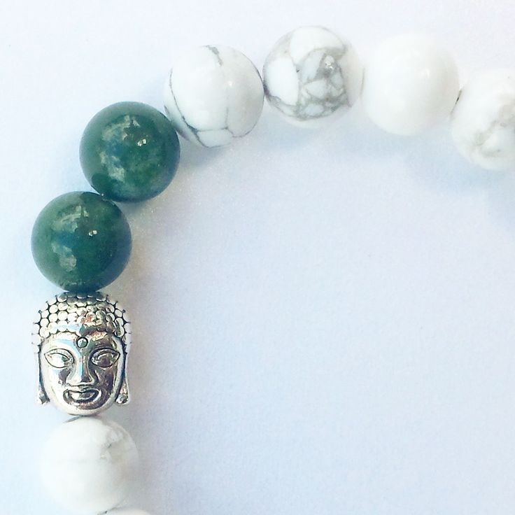 White Howlite and Indian Agate with Buddha by NidraBeads on Etsy
