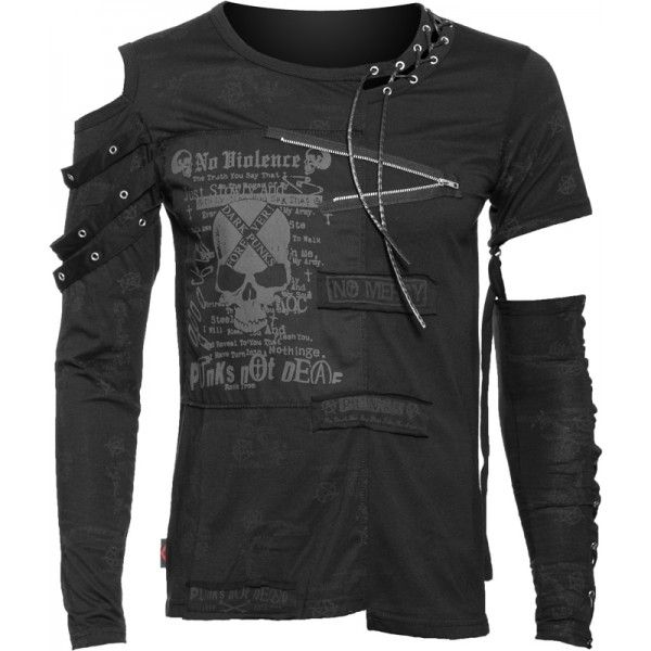 Gothic men's shirt with open shoulder and detached sleeve, detailed with 'no mercy' patch and skull print 'dark punks forever'.