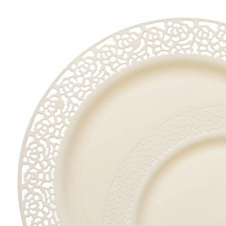 1258 Lace Ivory Plastic Dinnerware Value Sets