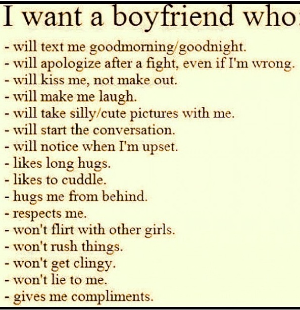 Describes the PERFECT boyfriend.....don't settle for anything less!