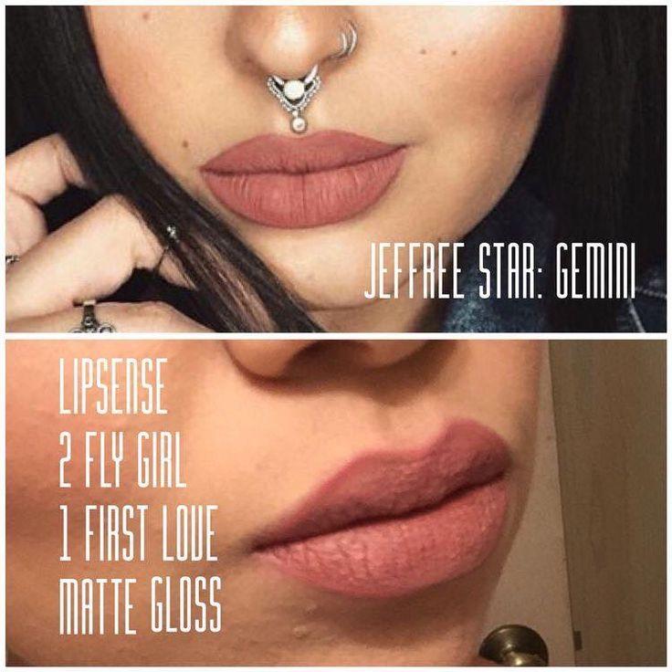 Jeffree Star: Gemini DupeYou need Two layers Fly Girl LipSense, One layer First Love LipSense and Matte Gloss.