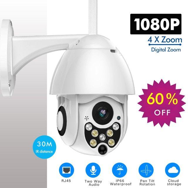 1080P HD Outdoor Waterproof PTZ Pan Tilt Security IP IR Camera WiFi Night Vision
