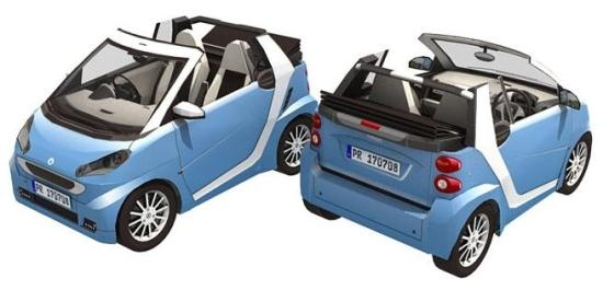 Mercedes Benz Smart Cabrio Paper Model In 1/16 Scale - by Paper Replika  ==          A very detailed version in paper of the Mercedes Benz Smart Cabrio in 1/16 scale, created by Indonesian designer Julius Perdana, from Paper Replika website.