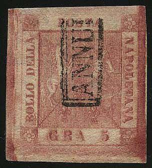 5 gr. (9) margini enormi ann. col bollo in cartella. G.Oliva., Chiav.
