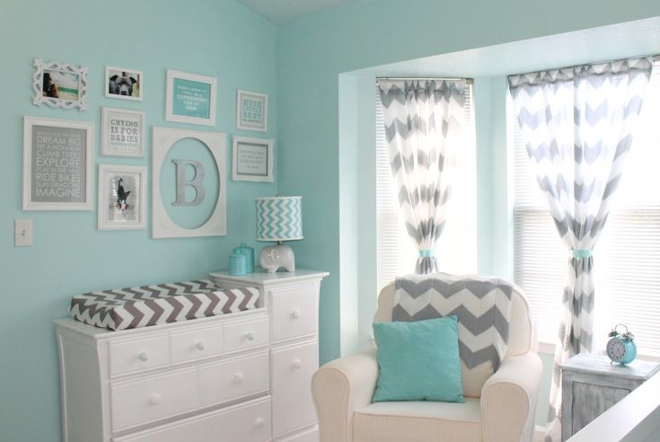 This aqua and gray chevron nursery features a beautiful gallery wall! #nursery #chevronBoys Nurseries, Chevron Nurseries, Change Tables, Baby Boys, Colors Schemes, Baby Room, Nurseries Ideas, Baby Nurseries, Grey Chevron