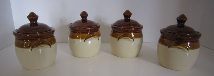 Bean Pot Set, Crocks with Lids, Soup Bowls, Kitchen Serving Dishes, Rustic, Primitive Stoneware, Brown Glazed Pots, Stoneware, Set of 4 by SoulsationsVintage on Etsy